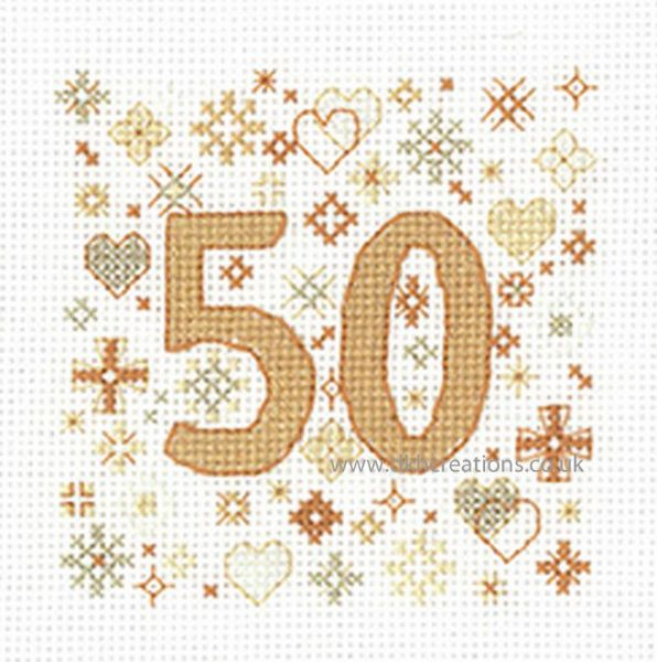 Sue Ryder Occasions 50th Anniversary Greeting Card Cross Stitch Kit